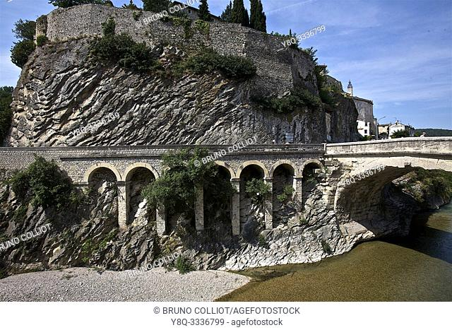 view of and on the medieval city with castle of Vaison la Romaine. vaucluse, france