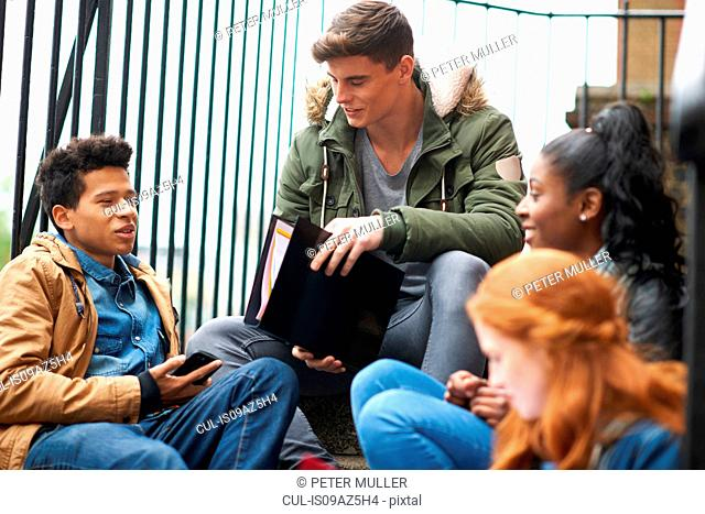 Young male and female college students revising on campus