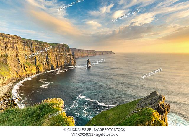 Cliffs of Moher at sunset. Liscannor, Co. Clare, Munster province, Ireland