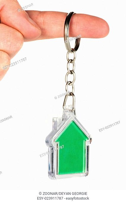 Keychain with figure of green house