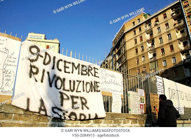 Rome, Italy 11 December 2013 The ''pitchfork movement'' protesters against ineffective government, austerity and recession congregate in Piazzale dei Partigiani