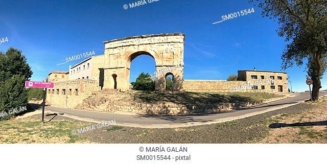Roman arch, panoramic view. Medinaceli, Soria province, Castilla Leon, Spain