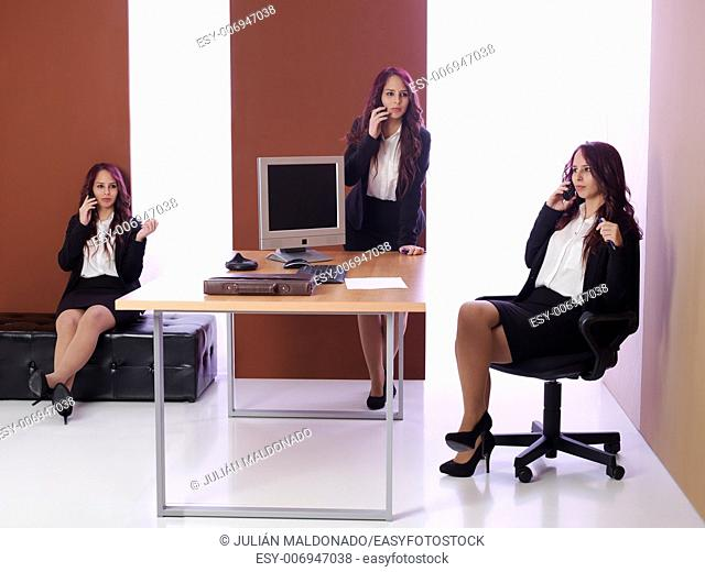 Multiple image of the same woman talking on the phone