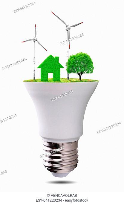 Eco LED light bulb isolated on white background. Concept of green energy