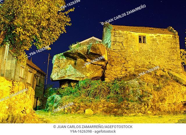 Castro Laboreiro street by night at the historical downtown, Peneda Geres National Park, Melgaco, Minho, Portugal