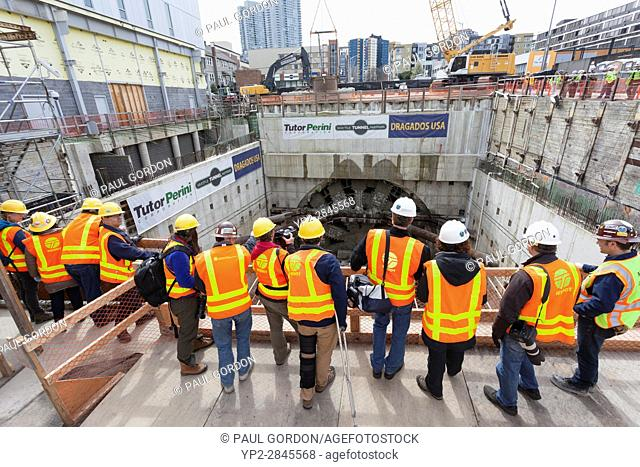 Seattle Washington: Workers, media and guests gathered at the disassembly pit to view the arrival of the cutterhead. The Alaskan Way Viaduct Replacement...
