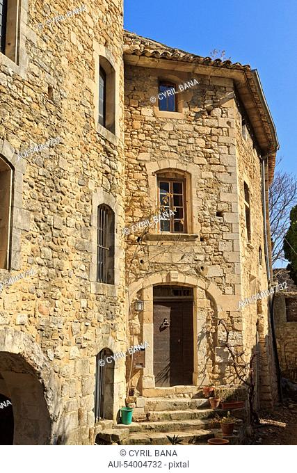 France, Oppède-le-Vieux, tall house, stone, Oppède village, Provence