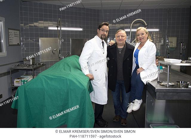 from left: actor Jan Josef LIEFERS (plays Professor Karl-Friedrich Boerne) actor Axel PRAHL (plays commissioner Frank Thiel) and actress ChrisTine URSPRUCH...