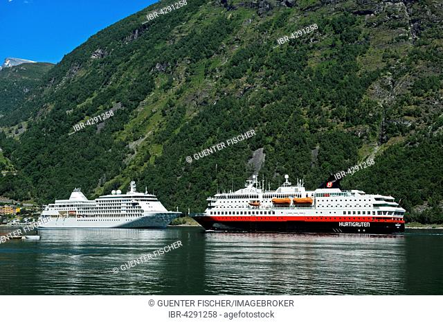 Silver Whisper cruise ships MS and MS Nordkapp in Geirangerfjord, Geiranger, Norway