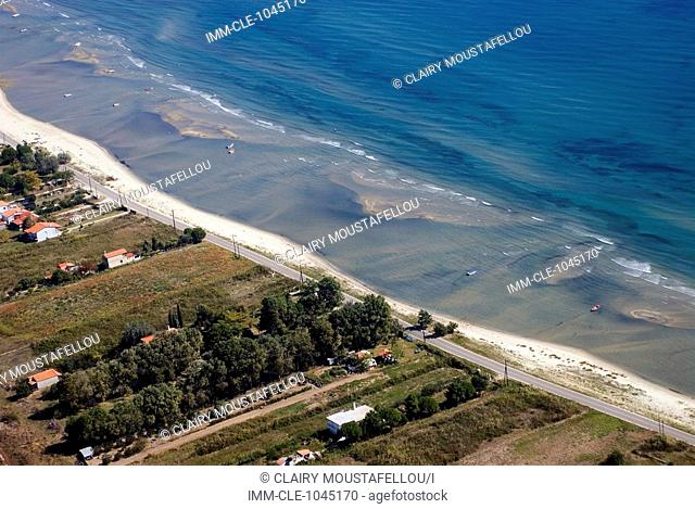 Aerial view of the coast near Avdira, located in the Xanthi prefecture of Greece, Europe The Nestos River mouth begins near here