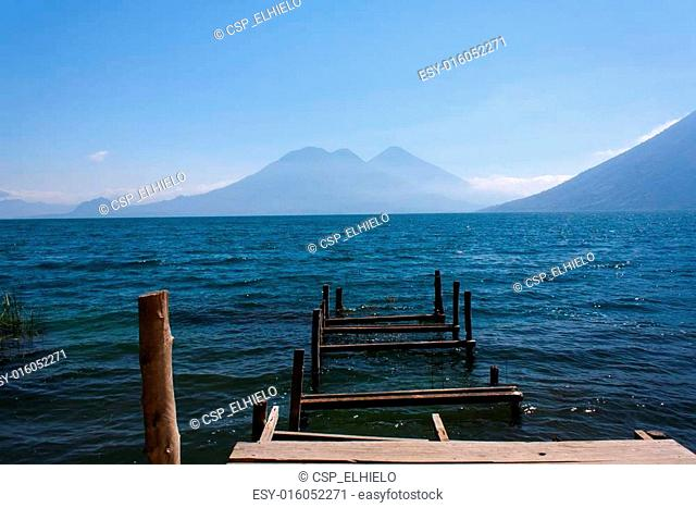 Lake Atitlan ruined wooden pathway San Marcos La Laguna Guatemal