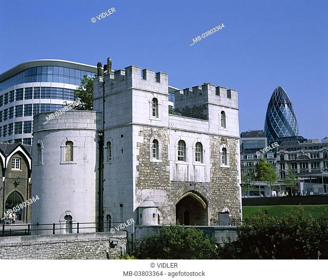 Great Britain, England, London,  Tower, detail, Middle Gate, buildings,  Architecture, old, again, Swiss Re tower  Europe, island, city, capital