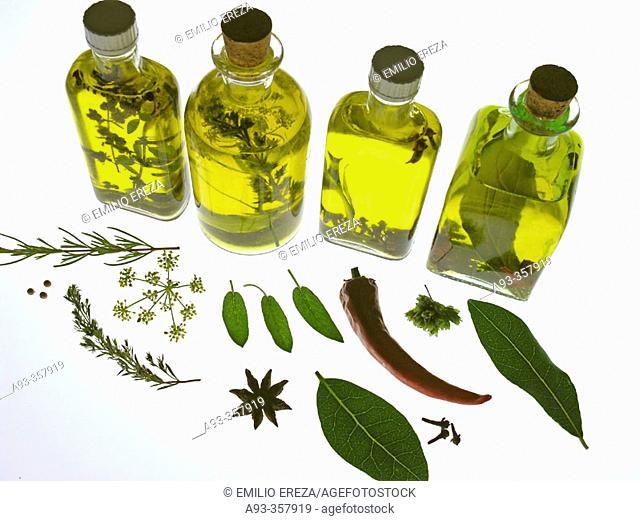 Herbal oil bottles