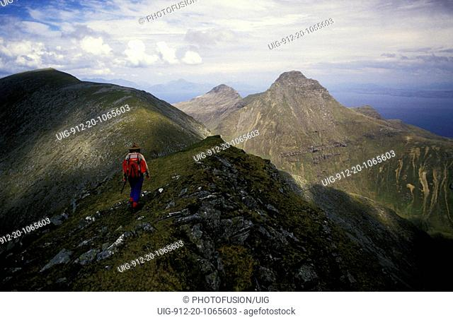 Mountain walking on Isle of Rhum, Scotland