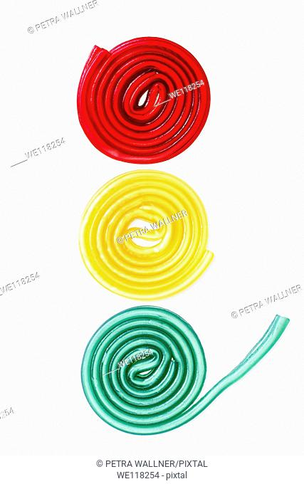 Colorful jelly candies, jelly gums, colored liquorice snail, rolled licorice