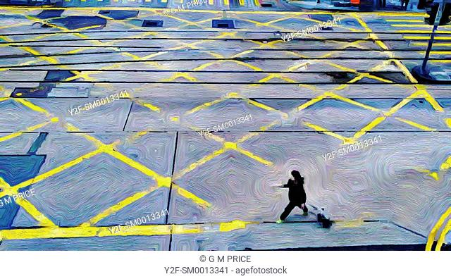 expressionist filter view of woman crossing intersection in Central, Hong Kong