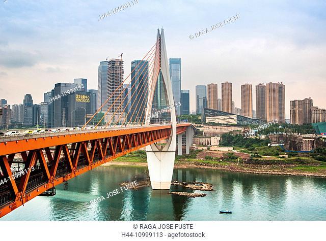 China, Chongqing City, Dajuyuan District Skyline, Qiansimen, bridge over Jialing River