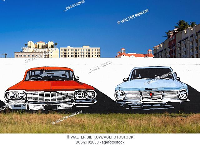 USA, Florida, West Palm Beach, wall mural with of old cars