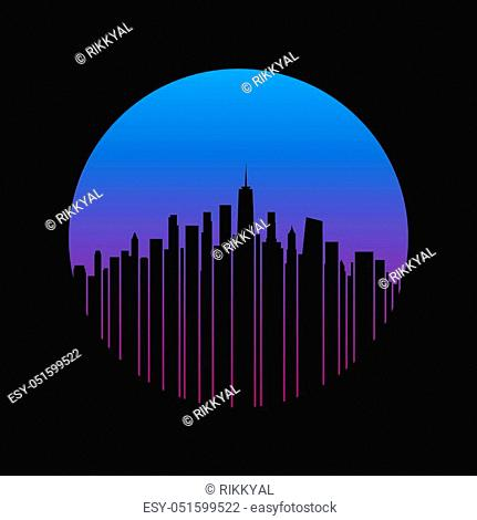 New York City styled skyline. T-shirt and apparel vector design, print, typography, poster, emblem