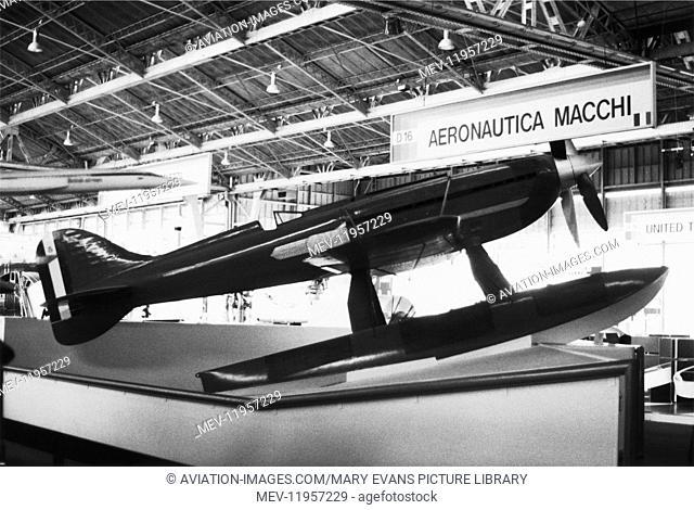 Macchi-Castoldi Mc-72 / M-72 Racing Floatplane on the Aeronautica Macchi Exhibition-Stand at the Farnborough Airshow 1980S