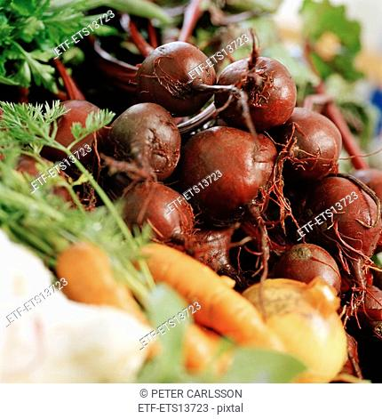 A close-up of root vegetables Sweden