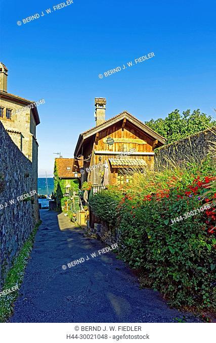 Chateu d'Yvoire, Häuserzeile, alt, typisch, Genfer See