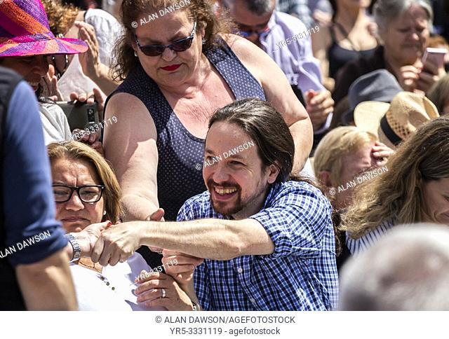 Las Palmas, Gran Canaria, Canary Islands, Spain. 13th April 2019. Pablo Iglesias , leader of Podemos party, campaigns in Las Palmas, the capital of Gran Canaria