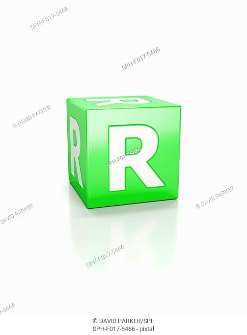 Green cube with letter R