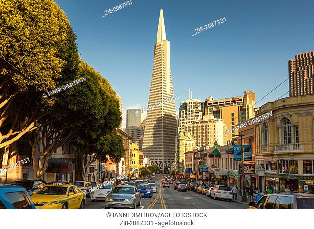 Traffic on Columbus Avenue with the iconic Transamerica Building,San Francisco,CA,USA