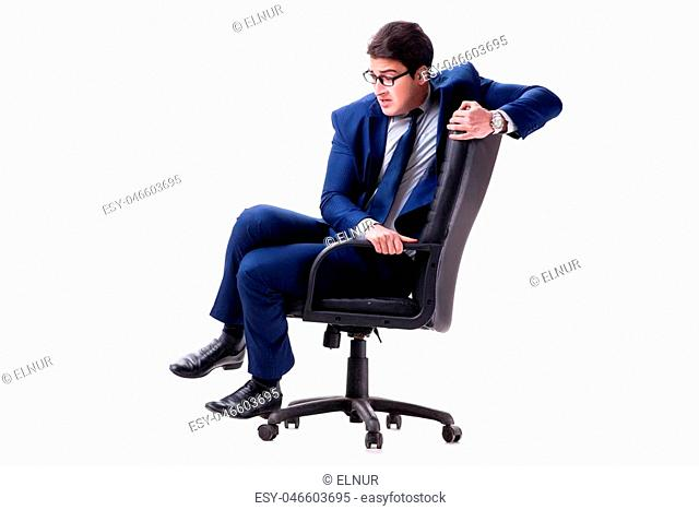 Businessman sitting on office chair isolated on white