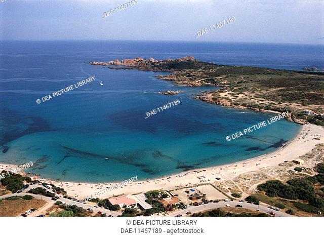 Aerial view of a beach near Isola Rossa, Frazione of Trinita' d'Agultu e Vignola - Province of Olbia-Tempio, Sardinia Region, Italy