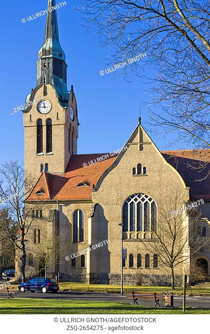 A church, the Christuskirche Church, in the urban district of Klotzsche in Dresden, Saxony, Germany