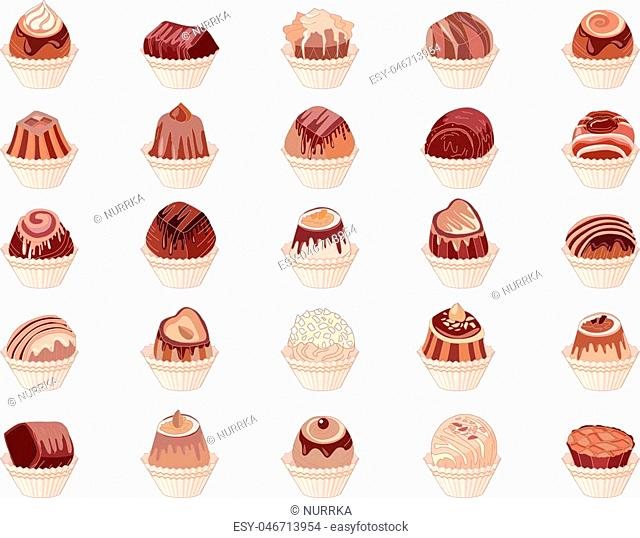 Big set with different chocolate candies isolated on white. Milk,dark,white chocolate. For your design, announcements, cards, posters, restaurant menu