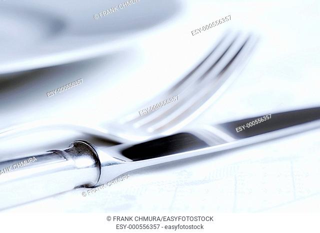 elegant table setting with silverware and white plate
