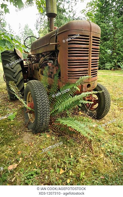 old, abandoned farm tractor near Cherry Point, Vancouver Island, British Columbia, Canada