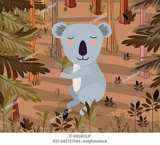 koala in the forest scene vector illustration design