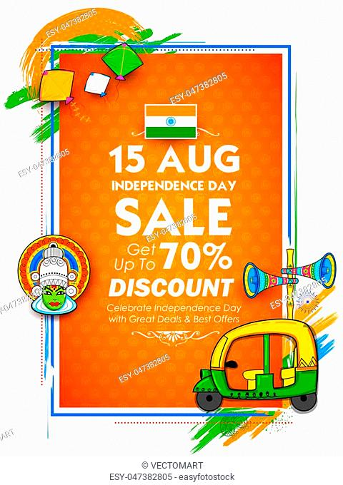 illustration of Independence Day of India sale banner with Indian flag tricolor