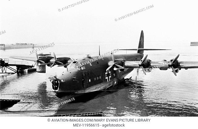 Blohm & Voss Bv-222 Viking Seaplane Parked in Water with Nose-Cone Open
