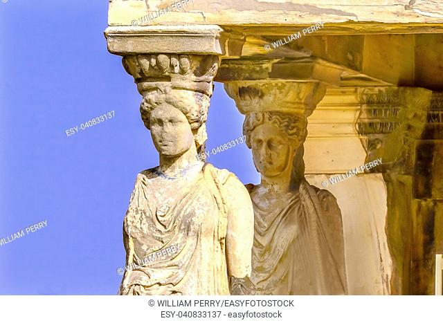 Porch Caryatids Ruins Temple of Erechtheion Acropolis Athens Greece. Greek maidens columns Temple of Erechtheion for a former Athenian king