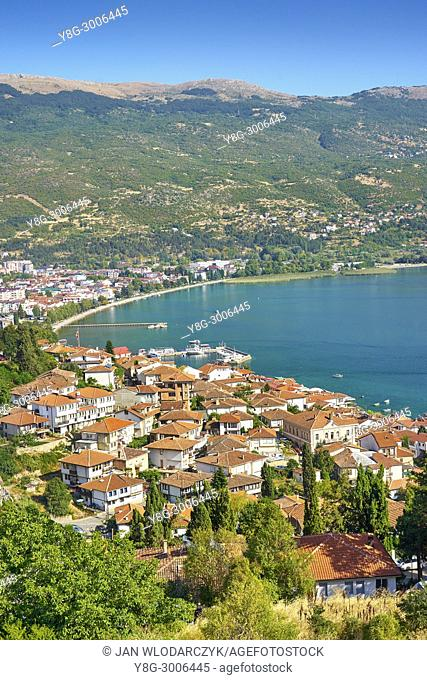 Aerial viev of Ohrid old town, Macedonia