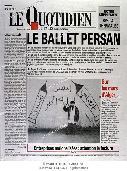 Front Page of the French publication 'Le Quotidien' reporting the last days of the Gulf War, 5th February 1991. The French Defence Minister