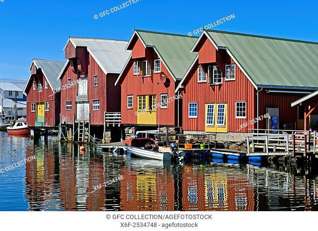 Warehouses in the harbour of Bud, Kommune Fræna, Romsdal peninsula, Møre og Romsdal county, Western Norway