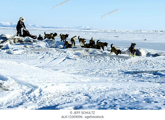 Brent Sass crosses jumbled sea ice and pressure ridges of Norton Bay as he approaches the Koyuk checkpoint during Iditarod 2016, Nome