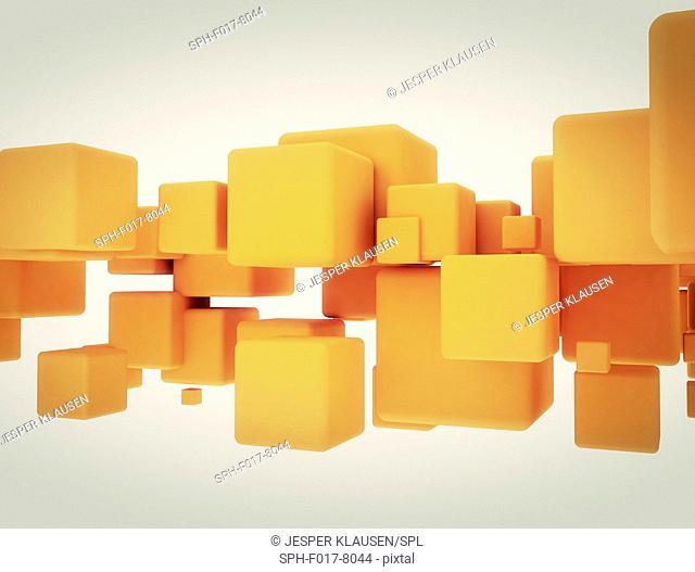 Orange cubes against white background, illustration