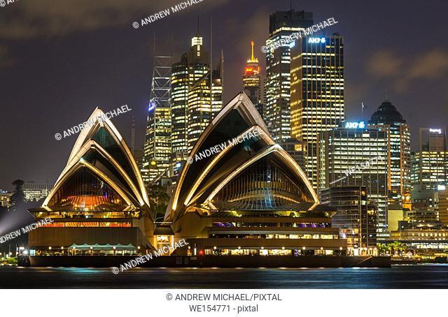 Sydney city skyline after dark. NSW, Australia