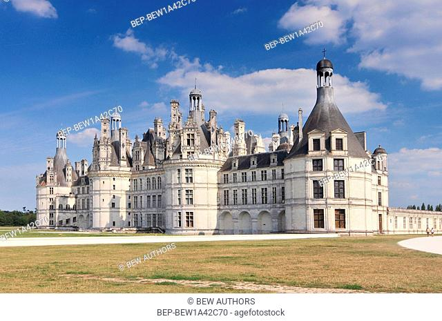 Chateau de Chambord royal medieval french castle. Loire Valley France Europe. Unesco heritage site