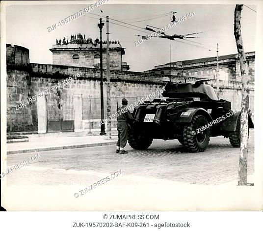 Feb. 02, 1957 - Twenty-Four Hour Mutiny At Palermo Jail. Prisoners On The Roof: Police stormed a jail at Palermo, Sicily-under the cover of machine gun fire to...