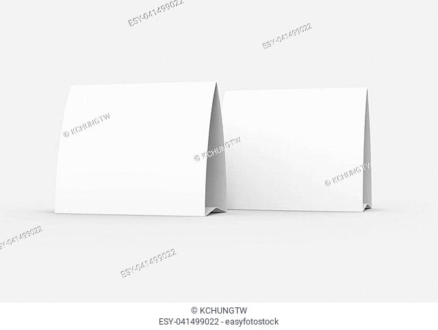 Blank paper tent template, white tent cards set with empty space in 3d render