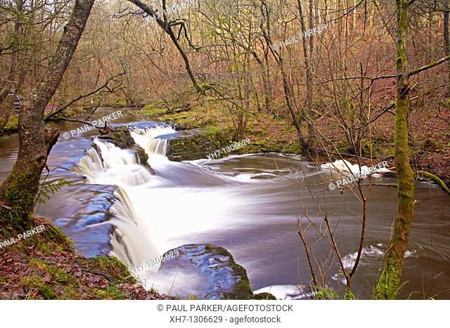 Waterfall on the river Nedd, Pontneddfechan, Neath Valley, Wales, UK