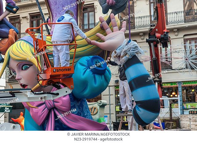 Falla of Merced square, Valencia, Spain. The Falles is a traditional celebration held in commemoration of Saint Joseph in the city of Valencia, Spain